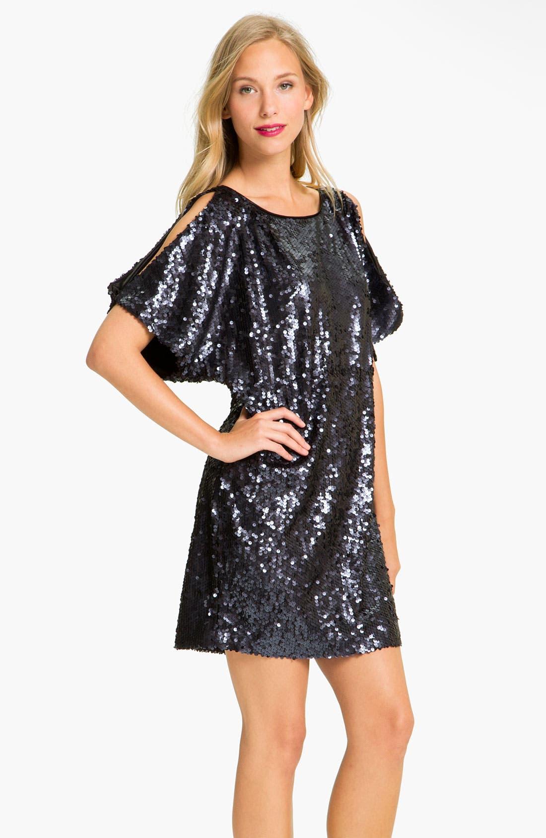 Alternate Image 1 Selected - Aidan Mattox Sequin Cold Shoulder Shift Dress