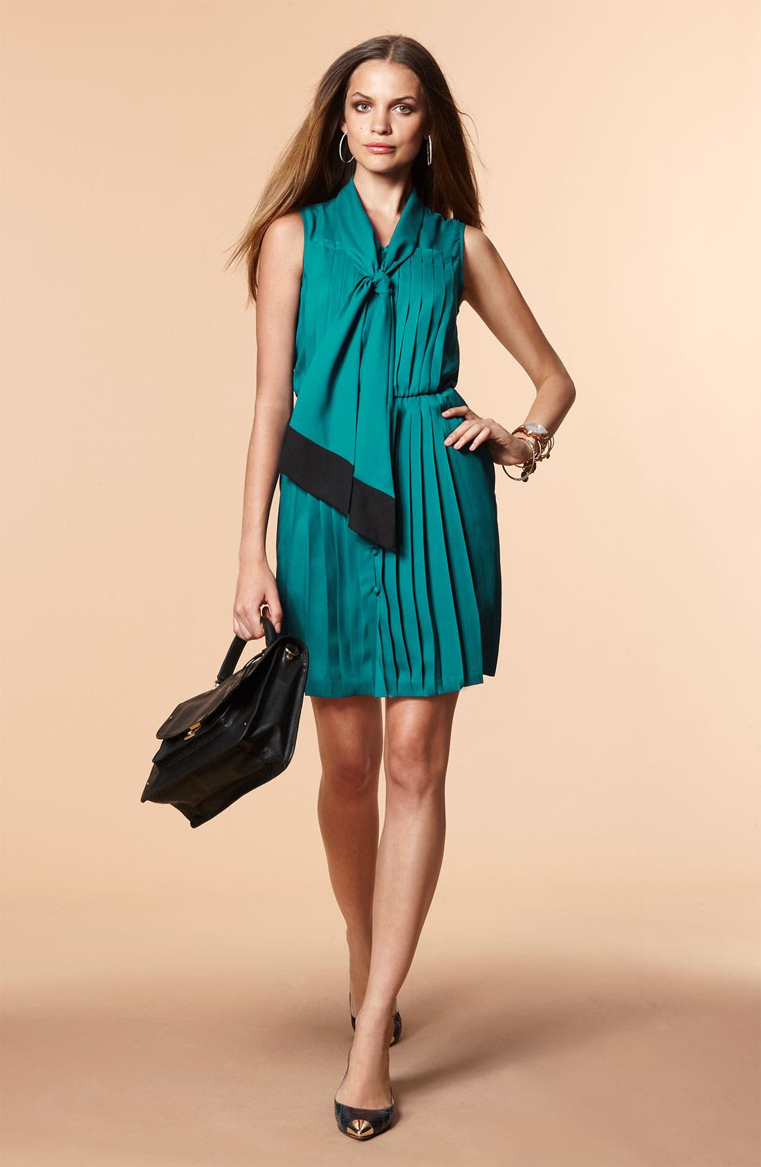 Alternate Image 4  - Taylor Dresses Pleated Tie Neck Shirtdress