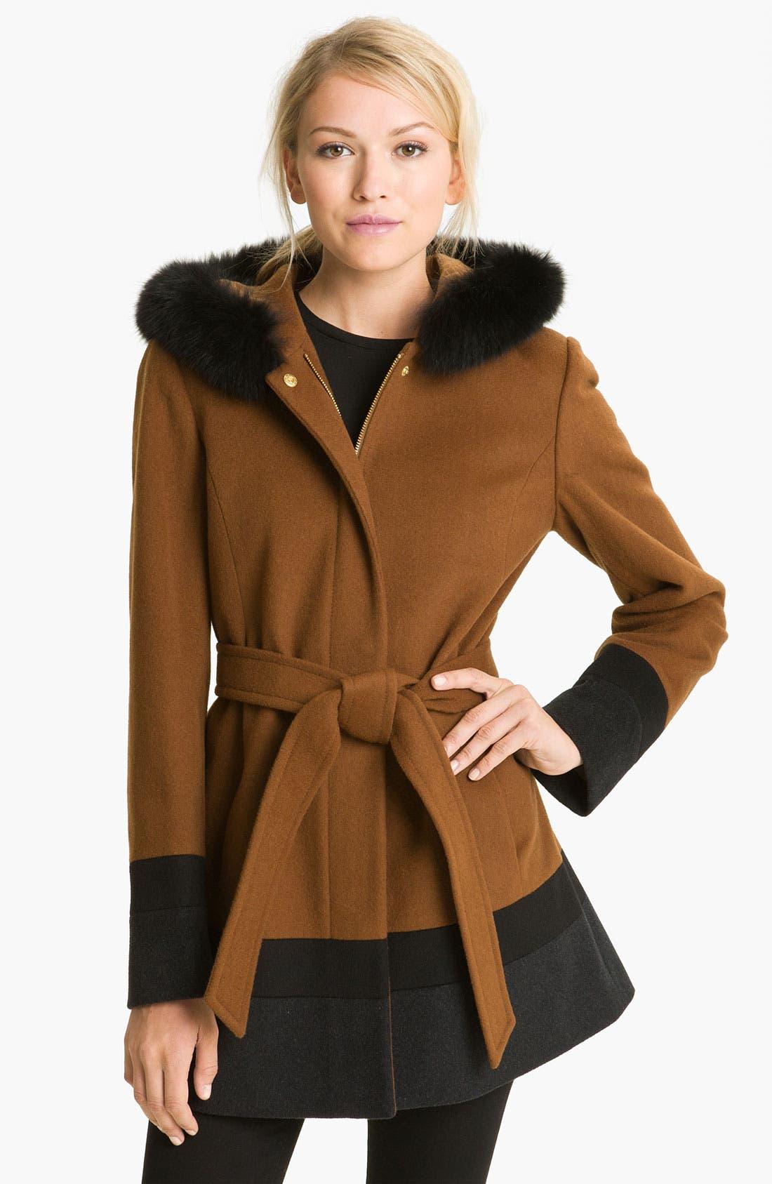 Alternate Image 1 Selected - Ellen Tracy Colorblock Coat with Genuine Fox Fur Trim