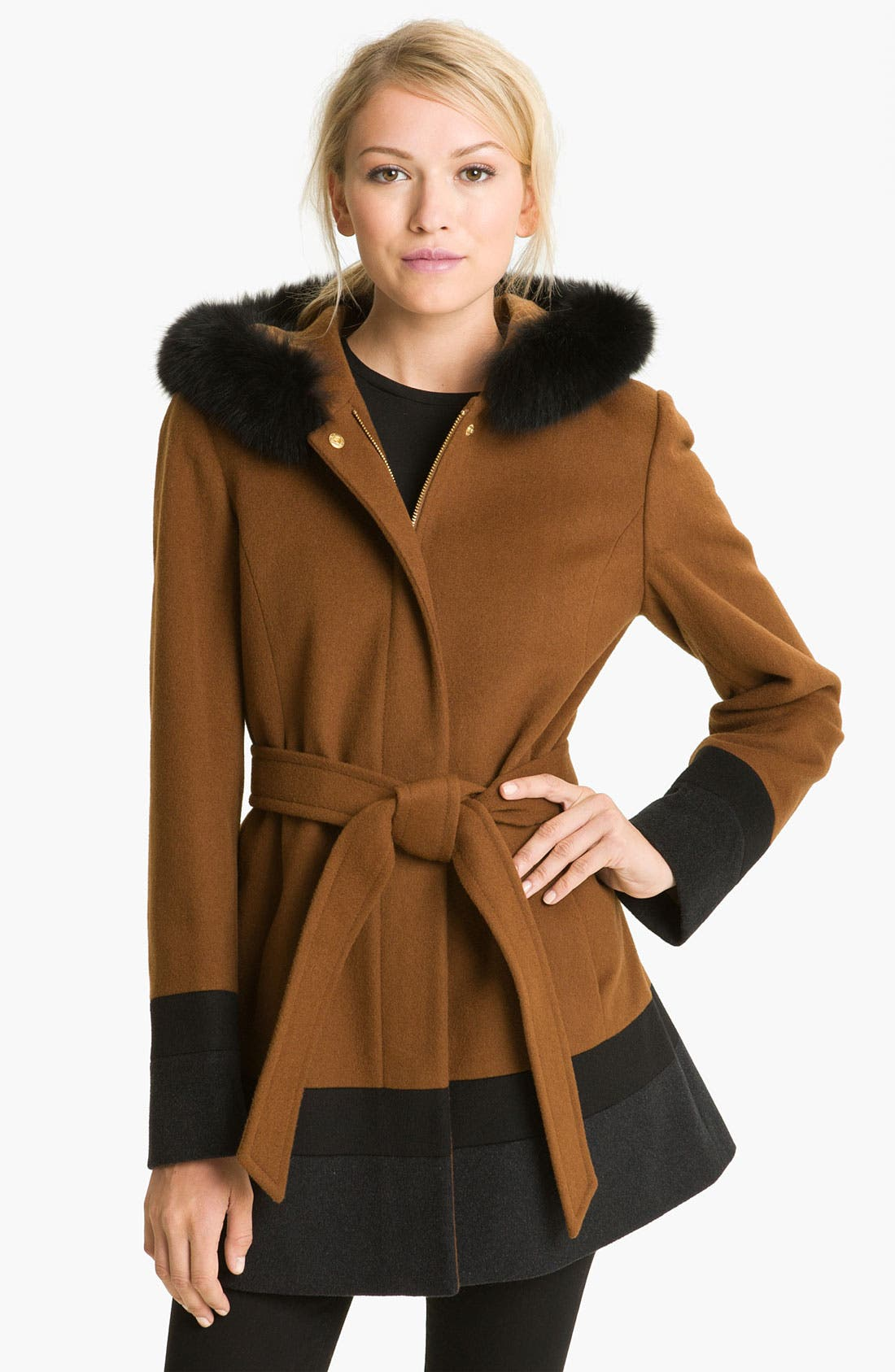 Main Image - Ellen Tracy Colorblock Coat with Genuine Fox Fur Trim