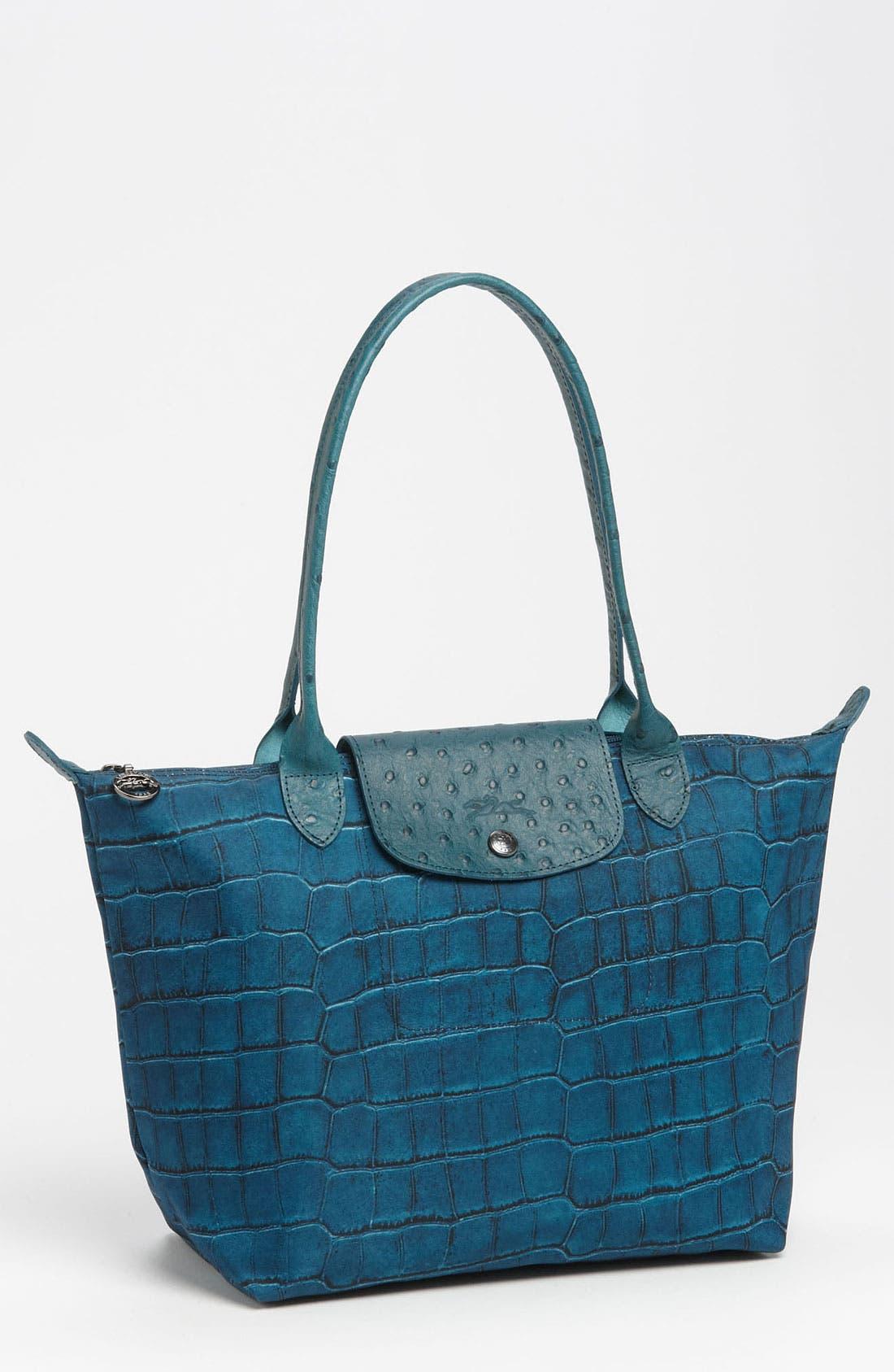 Main Image - Longchamp 'Le Pliage Croco' Small Shoulder Tote