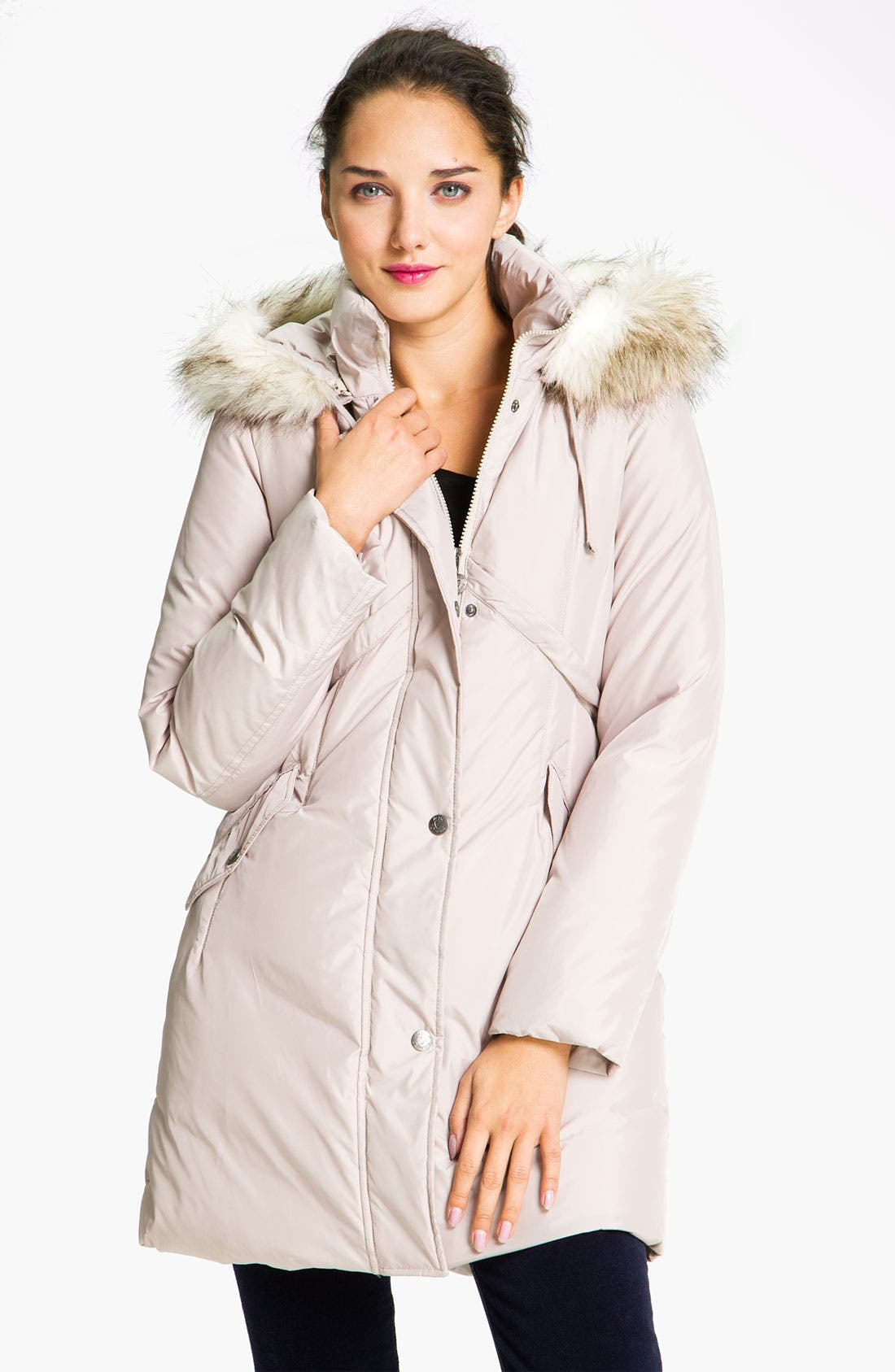 Main Image - Betsey Johnson Quilted Walking Coat with Detachable Hood