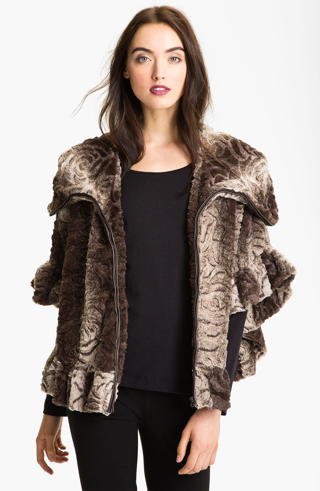 Main Image - Damselle Hooded Faux Fur Cape