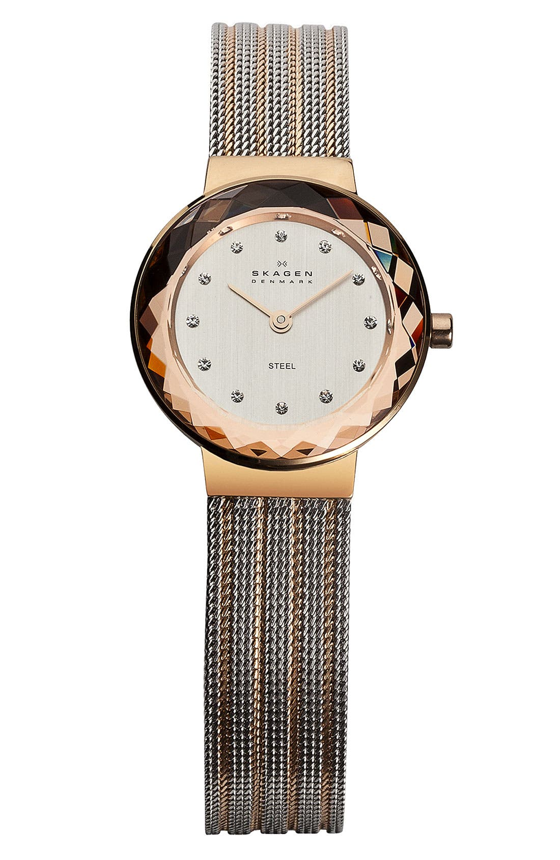 Main Image - Skagen Round Striped Mesh Strap Watch