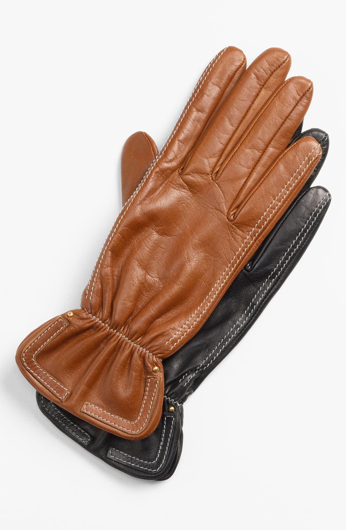 Alternate Image 1 Selected - Nordstrom Contrast Stitch Glacé Leather Gloves