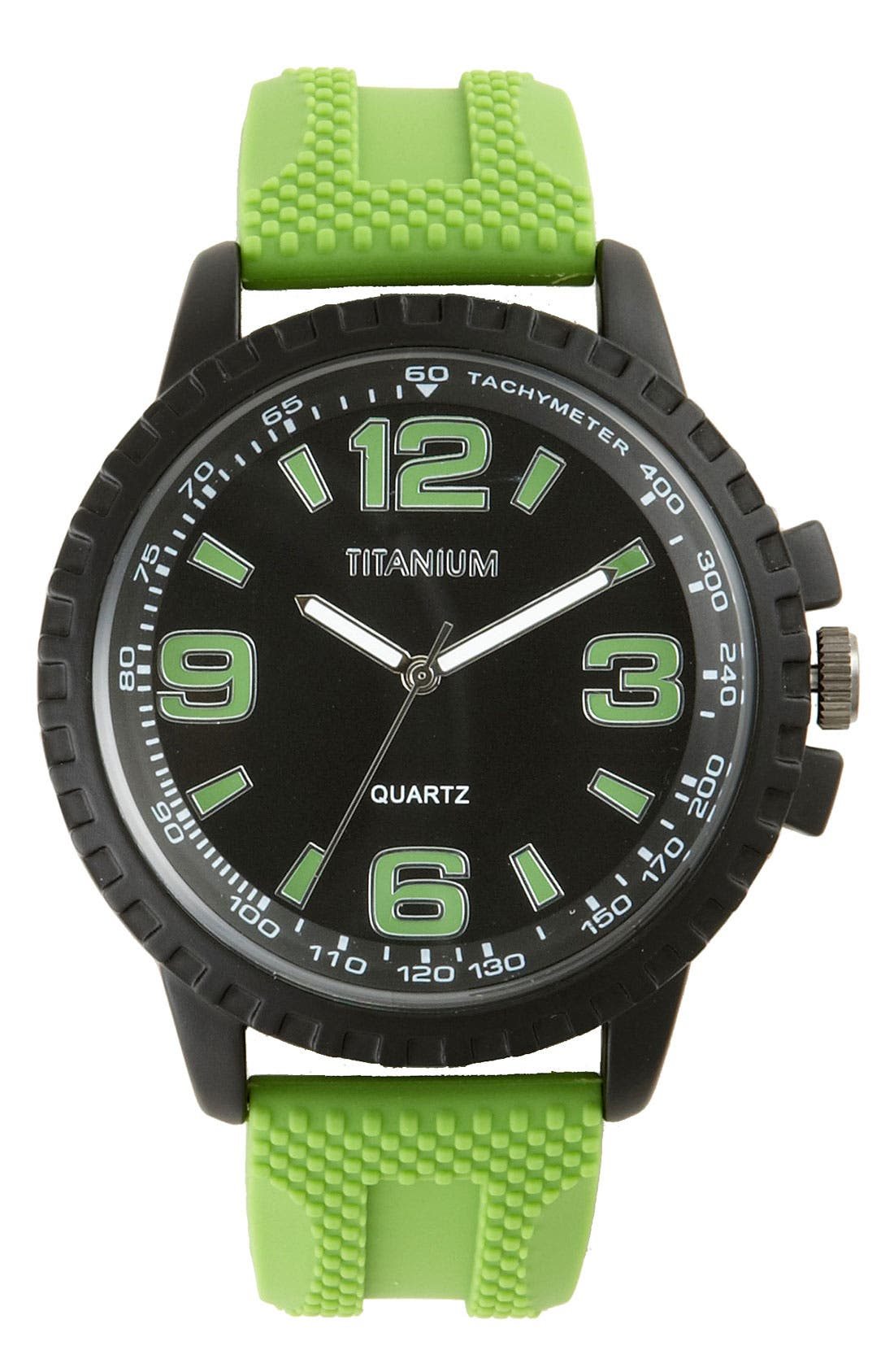 Alternate Image 1 Selected - Titanium Round Silicone Strap Watch