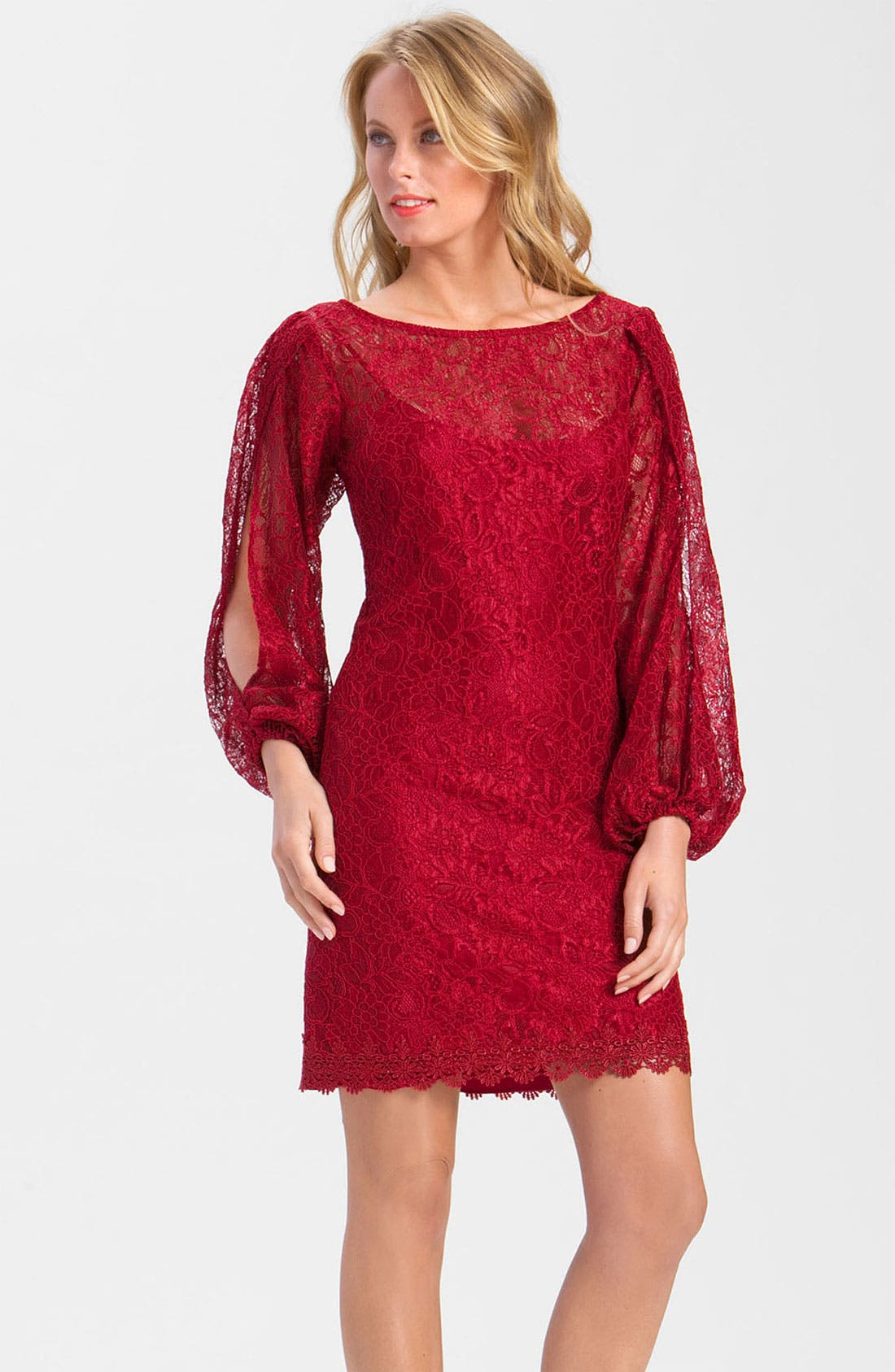 Main Image - Laundry by Shelli Segal Split Sleeve Lace Dress