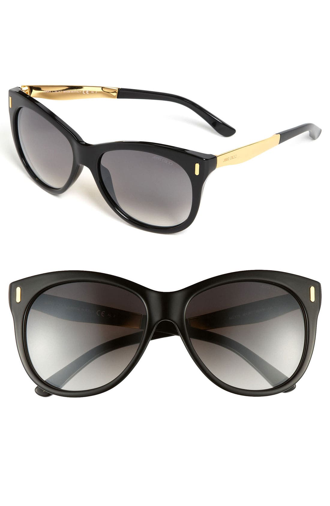 'Ally' 56mm Retro Sunglasses,                             Main thumbnail 1, color,                             Black/ Grey Gradient