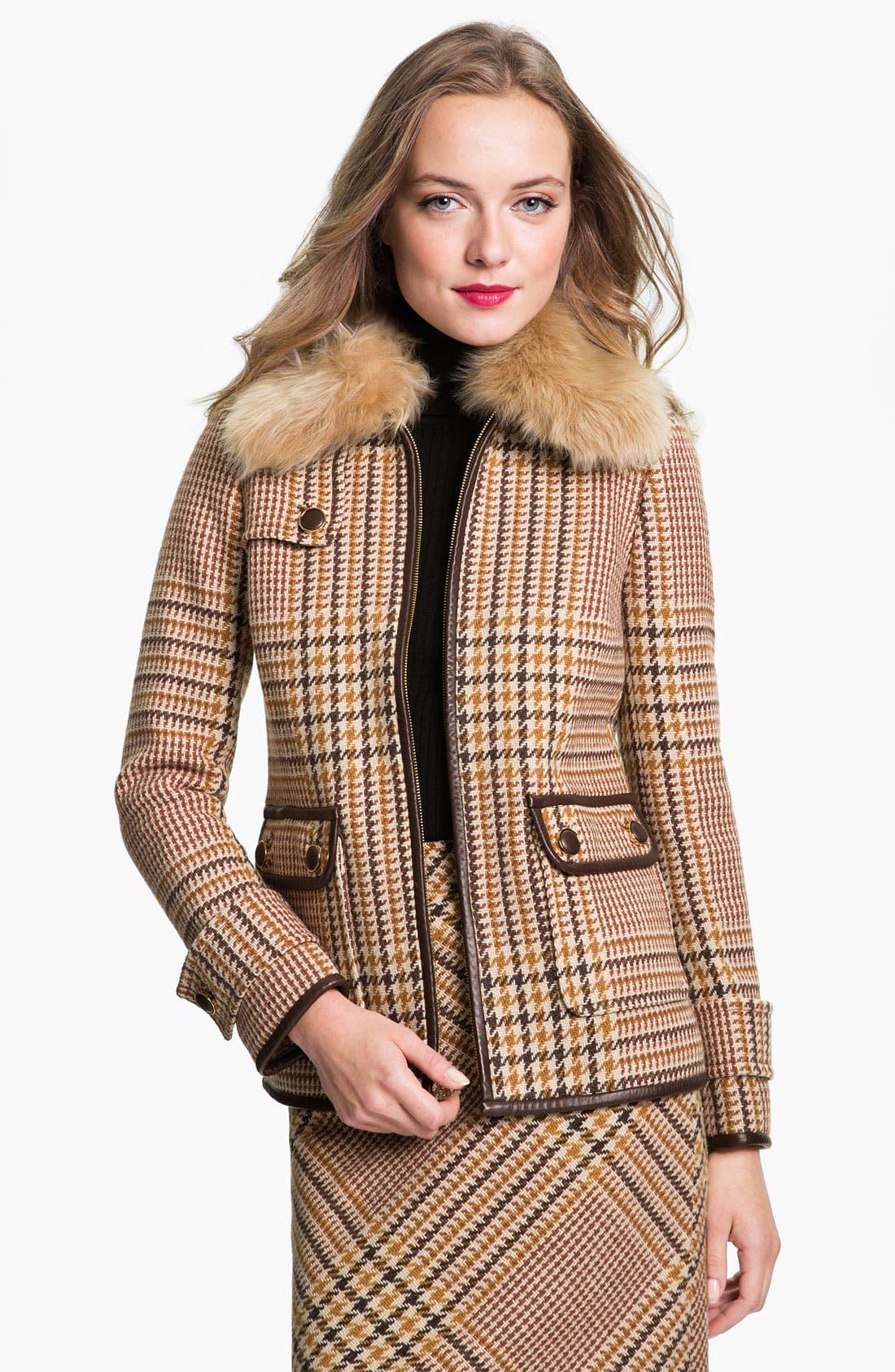 Main Image - Tory Burch 'Jasmine' Genuine Lamb Fur Collar Coat (Online Exclusive)
