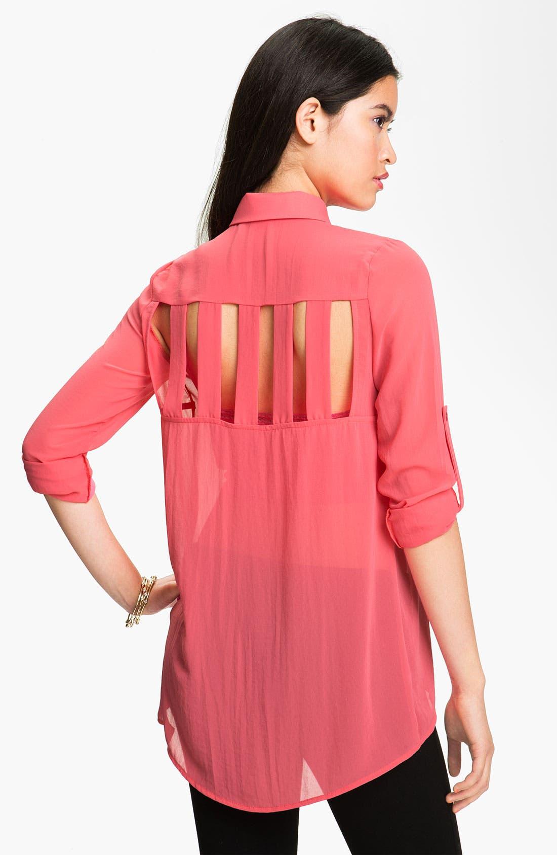 Alternate Image 1 Selected - Lush Cutout Back Shirt (Juniors)