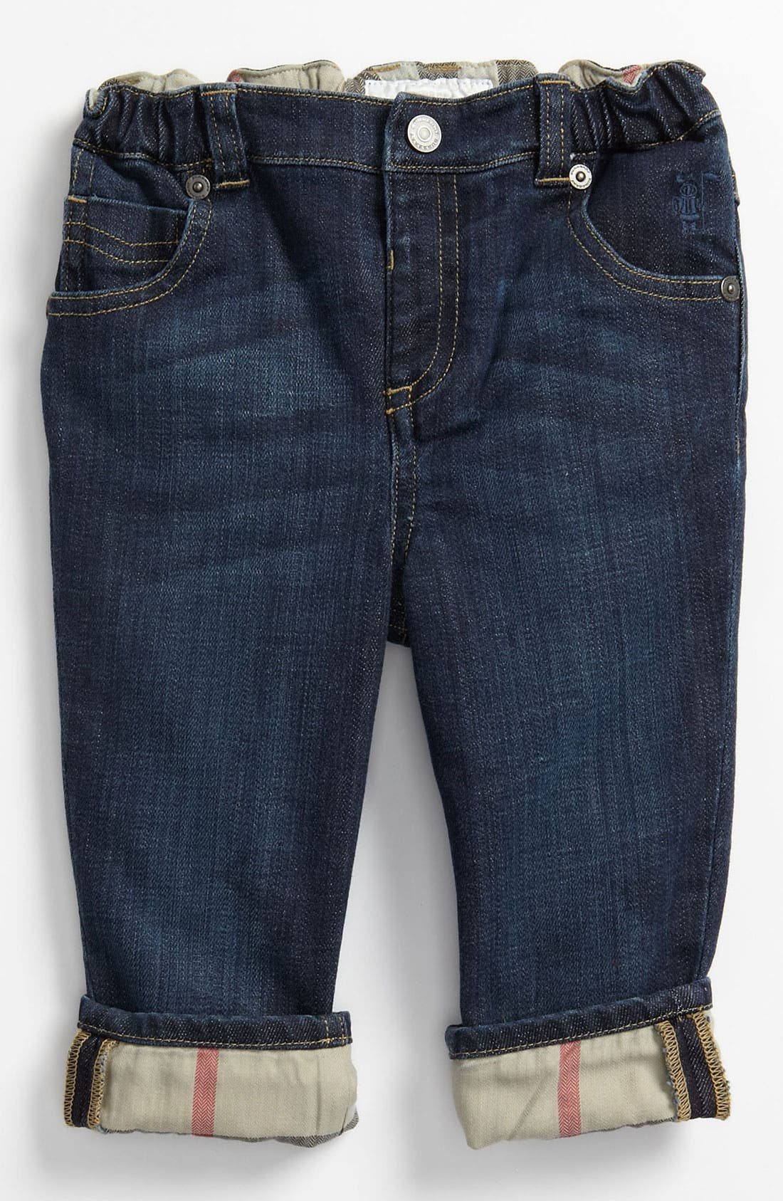 Alternate Image 2  - Burberry Check Lined Jeans (Baby)
