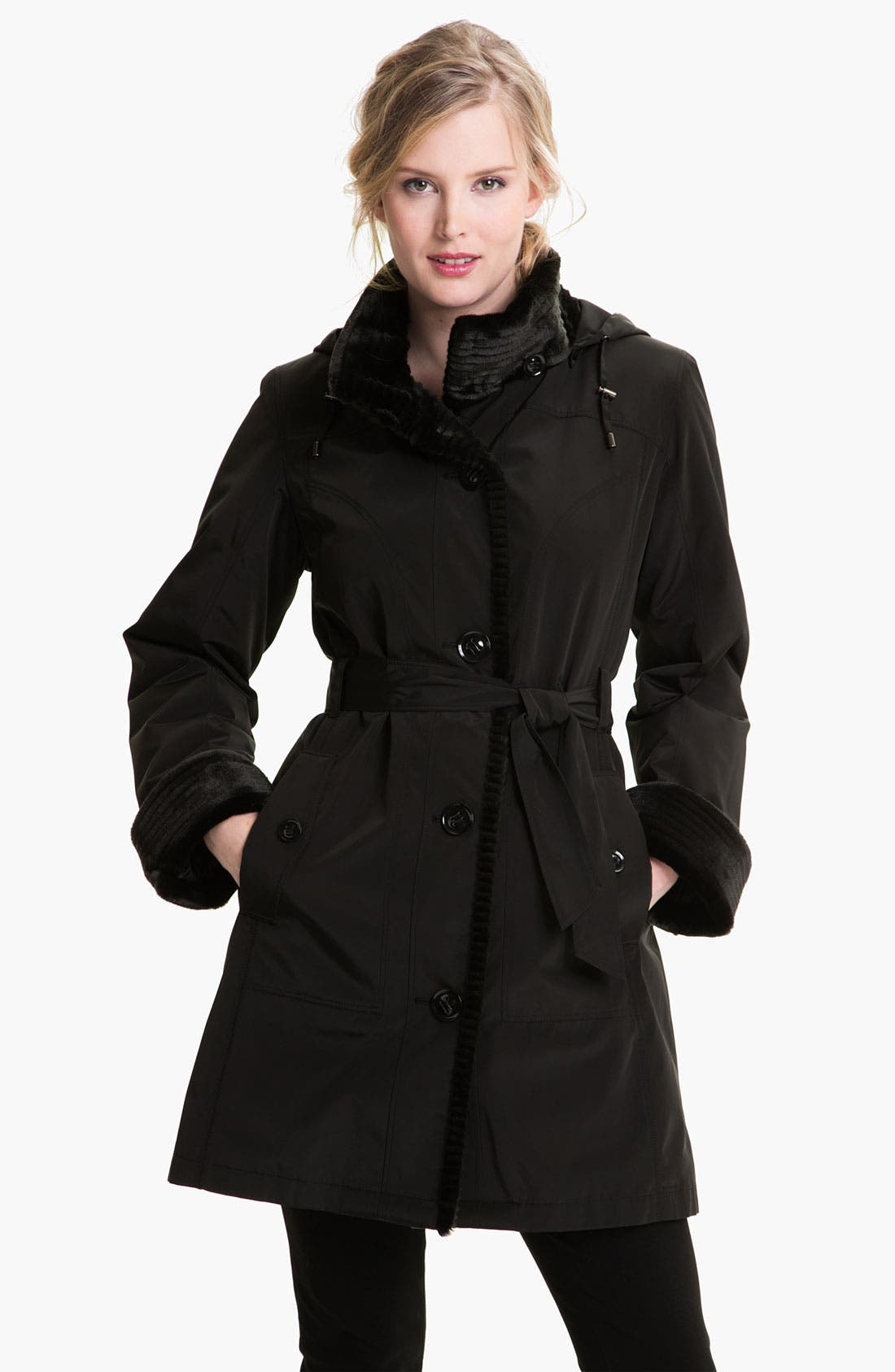 Alternate Image 1 Selected - Gallery Faux Fur Trim Storm Coat