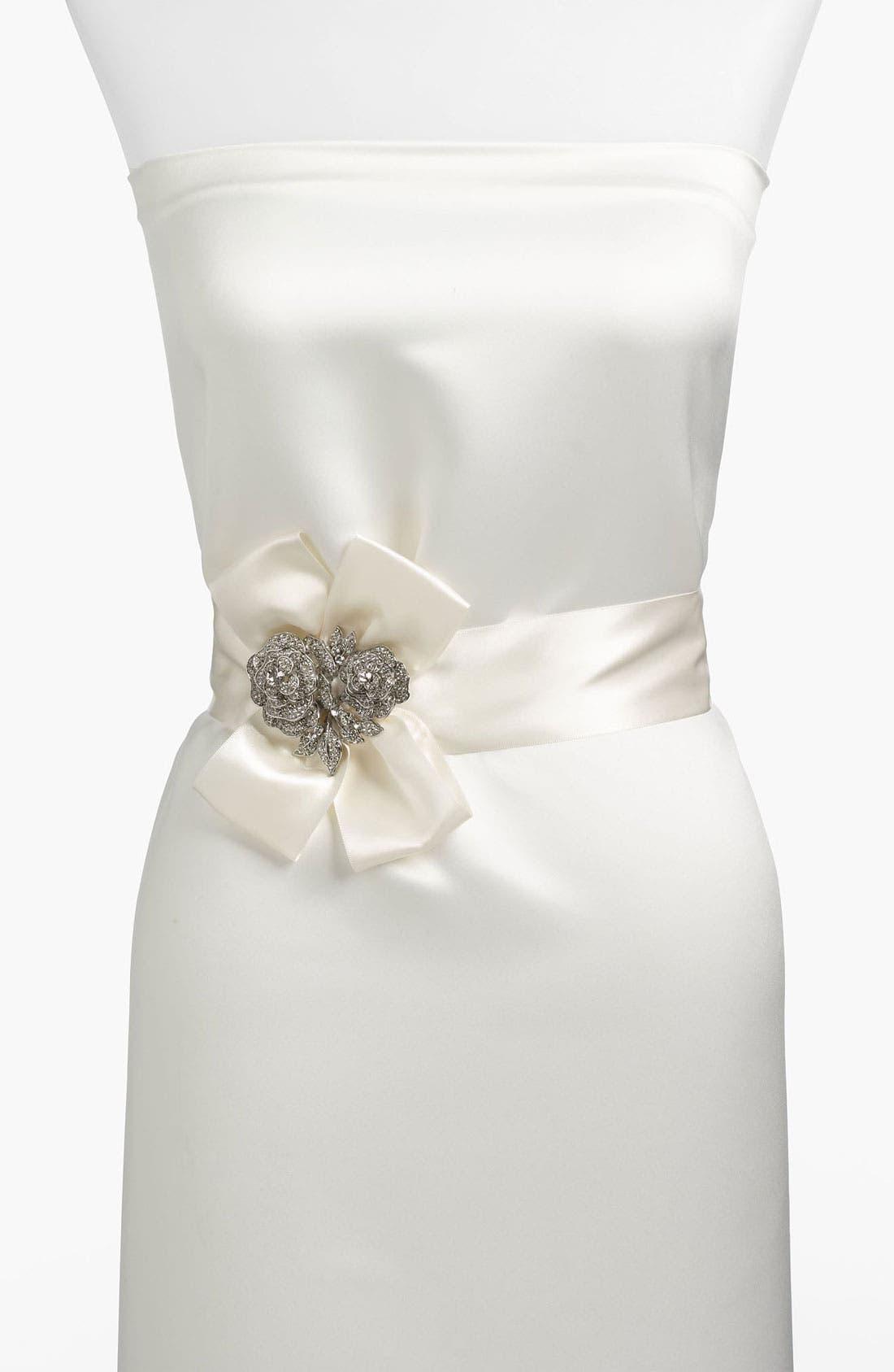 Alternate Image 1 Selected - Nina Satin Crystal Flower Sash