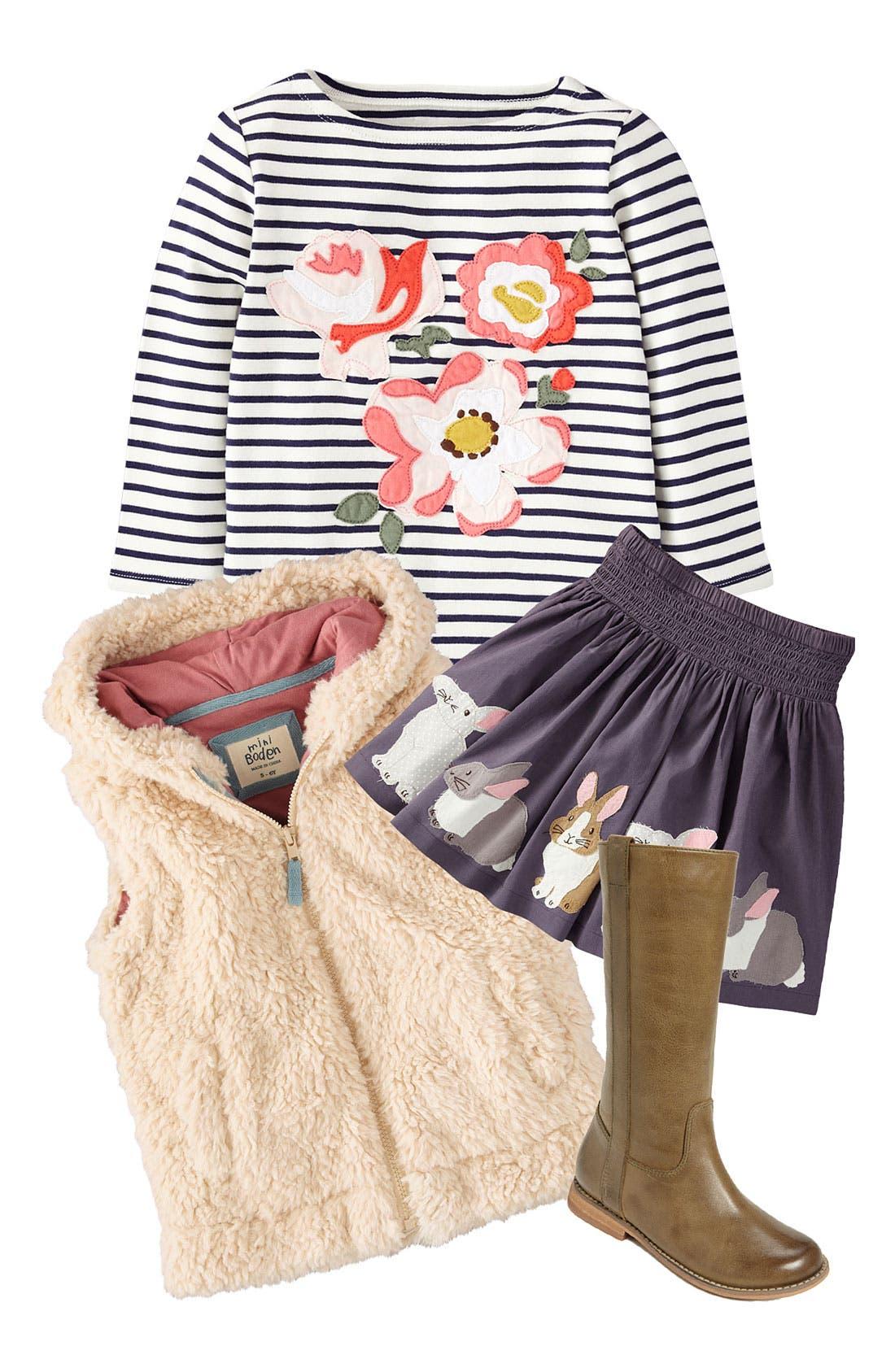Alternate Image 1 Selected - Mini Boden Tee, Vest & Skirt (Little Girls & Big Girls)