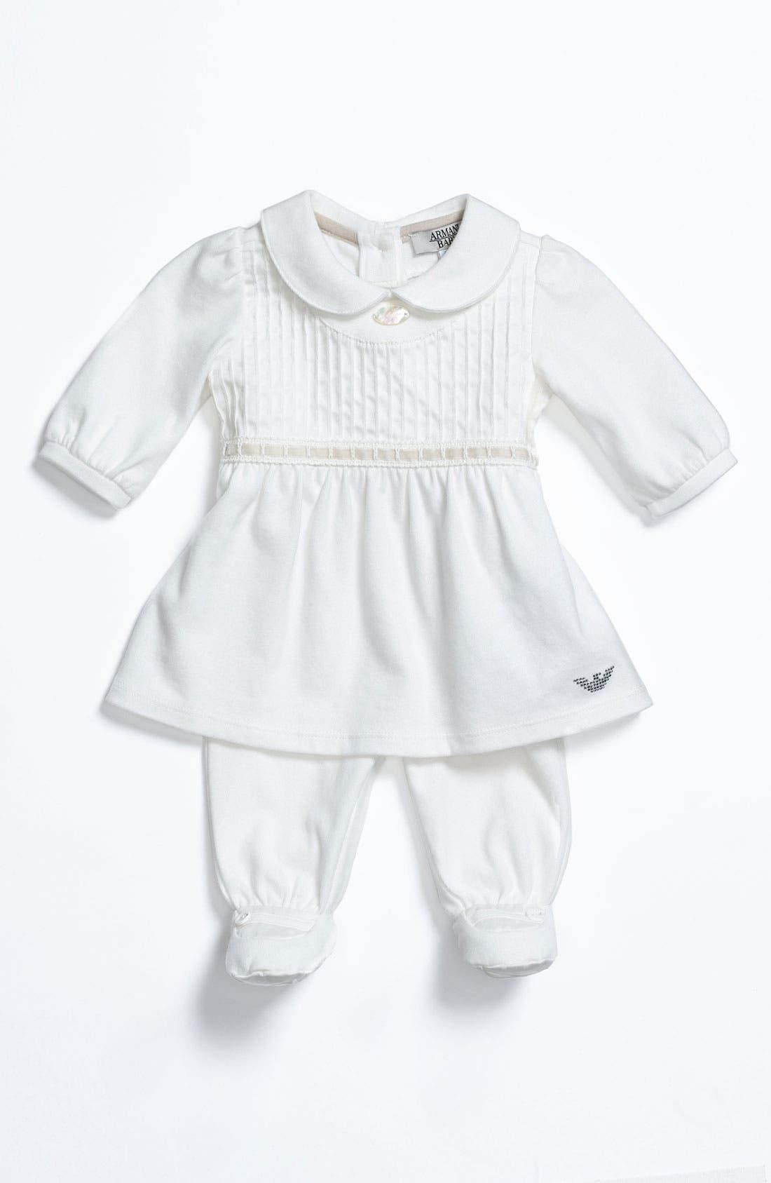 Main Image - Armani Junior Dress & Footed Leggings (Infant)