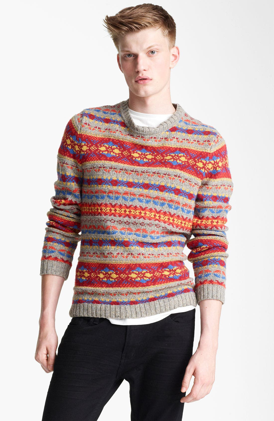 Alternate Image 1 Selected - Topman Fair Isle Crewneck Sweater with Elbow Patches