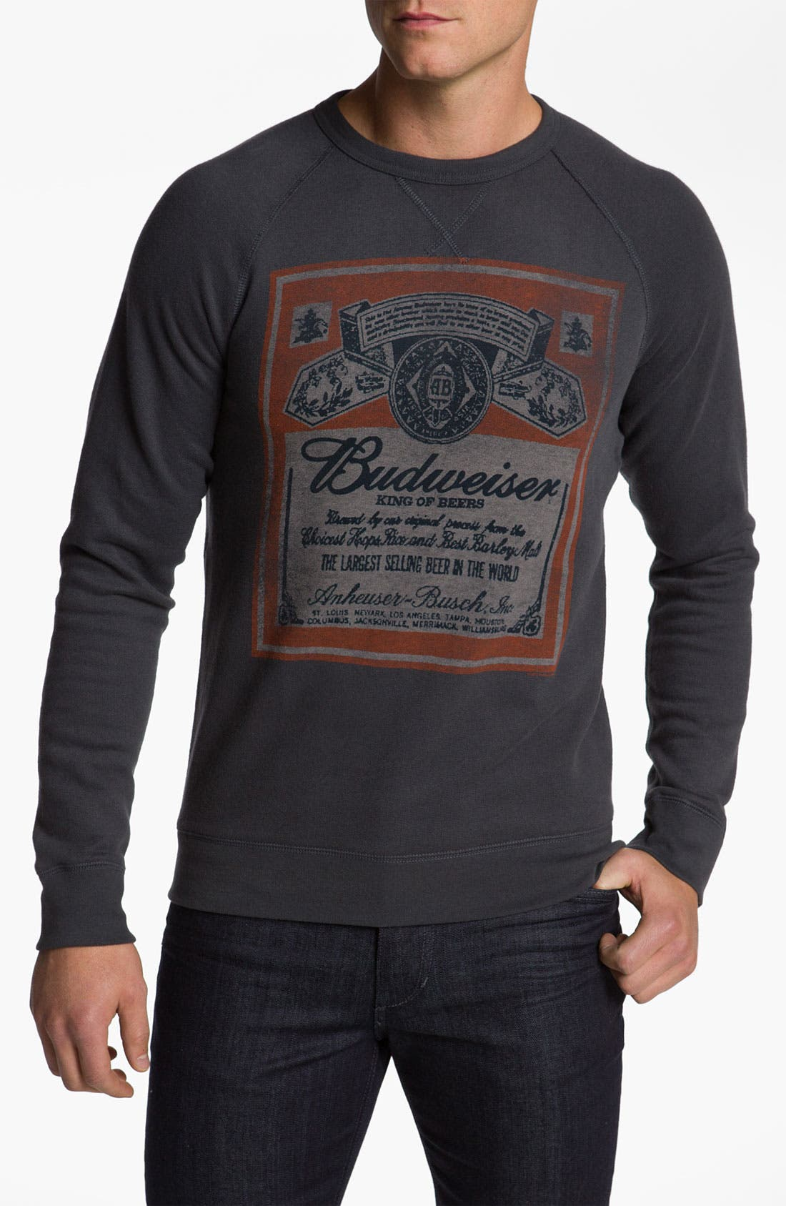 Main Image - Junk Food 'Budweiser' Crewneck Sweatshirt