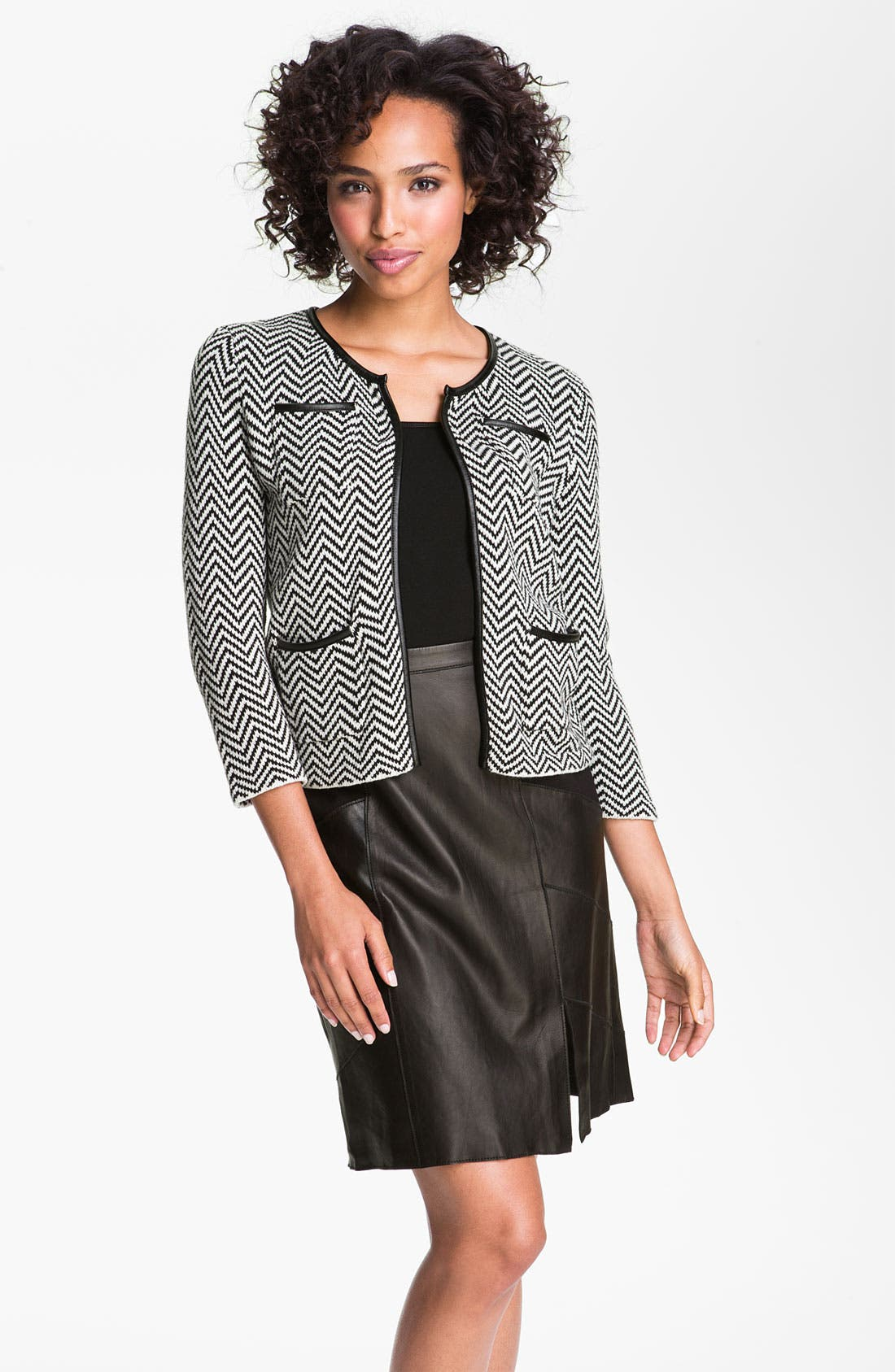 Main Image - Halogen® Faux Leather Trim Herringbone Sweater Jacket