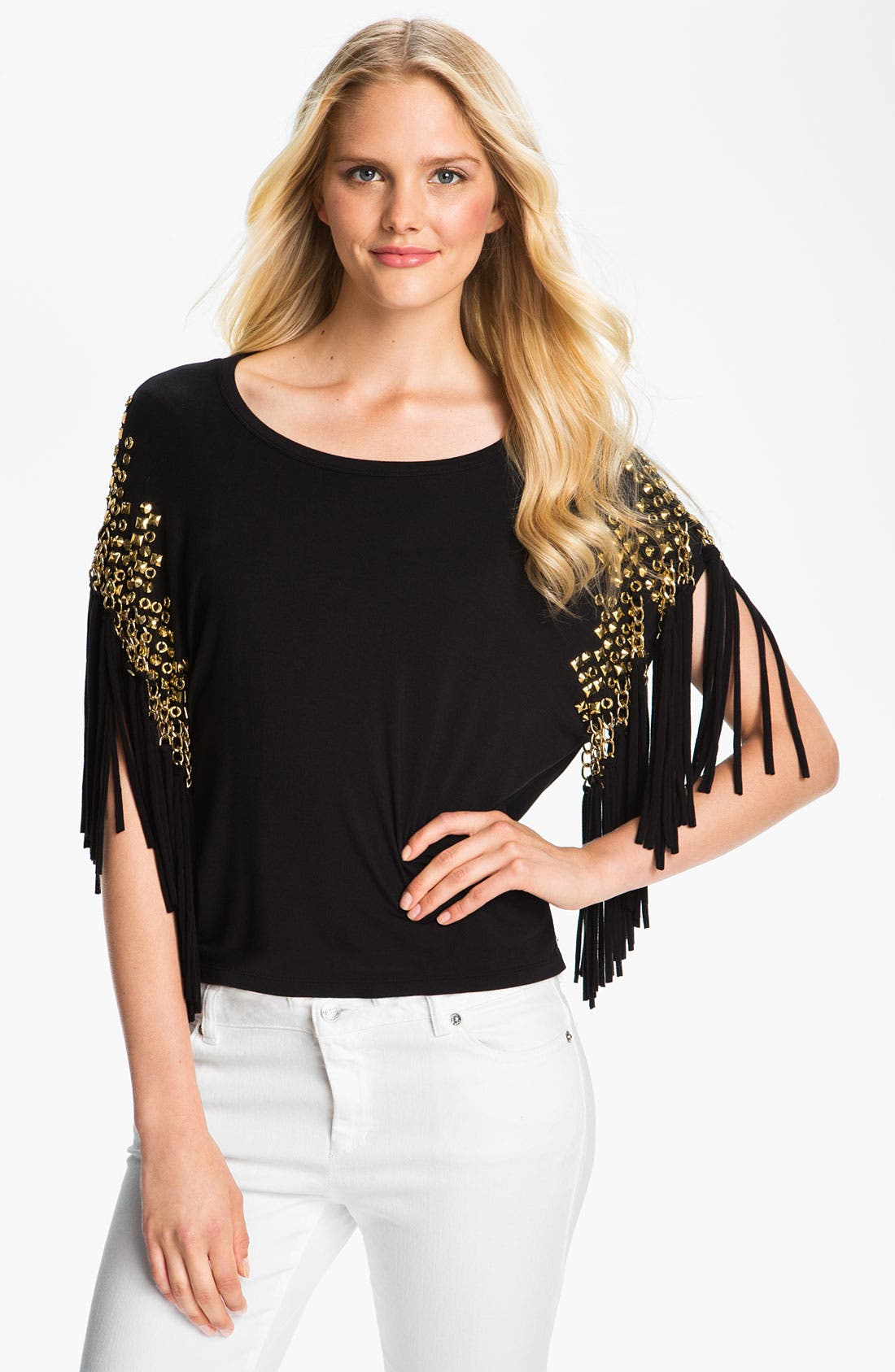 Alternate Image 1 Selected - MICHAEL Michael Kors Embellished Fringe Top
