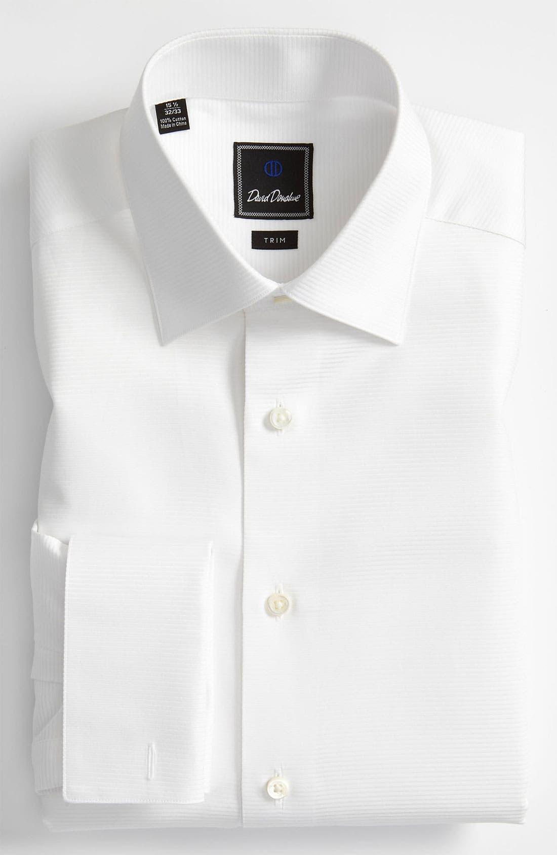 Main Image - David Donahue Trim Fit Twill French Cuff Tuxedo Shirt