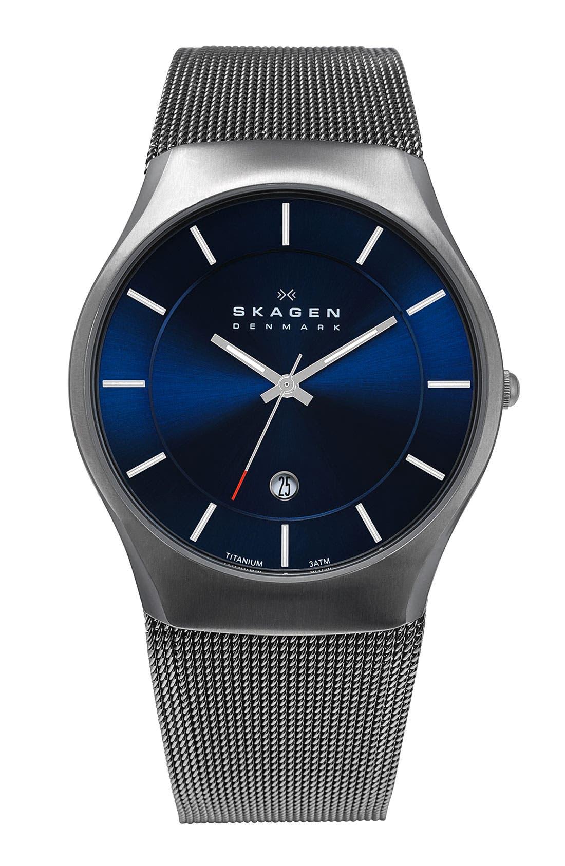 Alternate Image 1 Selected - Skagen 'Matthies' Titanium Mesh Strap Watch, 39mm