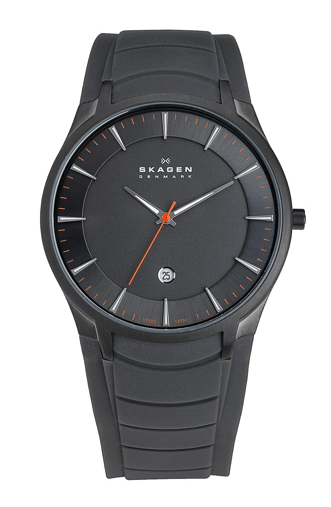 Main Image - Skagen Round Silicone Strap Watch