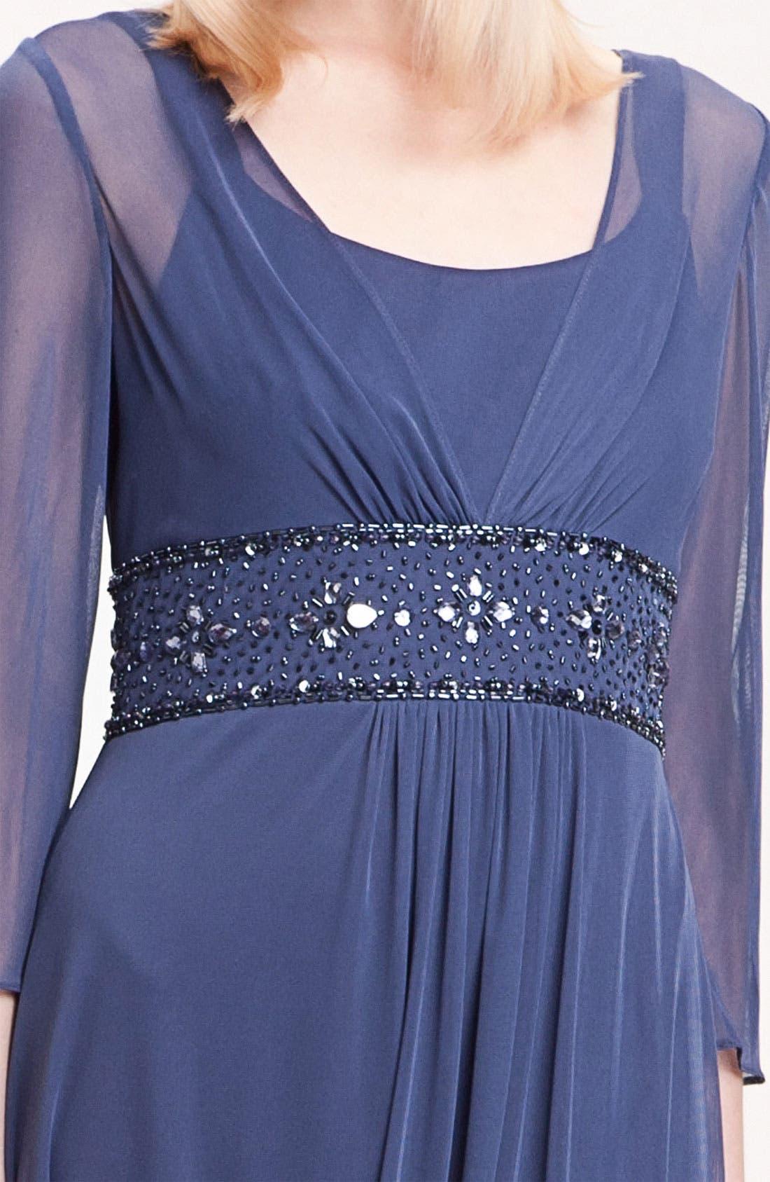 Alternate Image 3  - Alex Evenings Long Sleeve Bead Waist Mesh Gown (Petite)