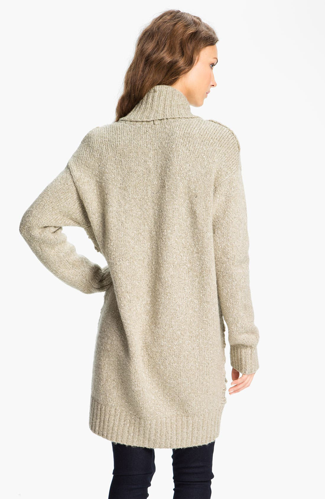 Scallop Knit Oversized Cardigan,                             Alternate thumbnail 2, color,                             Stone Cobbler