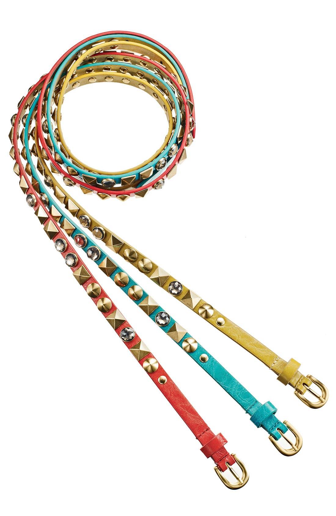 Alternate Image 2  - Betsey Johnson Studded Skinny Belt