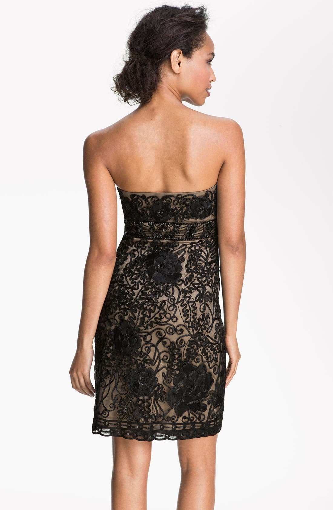 Alternate Image 2  - Sue Wong Strapless Embroidered Mesh Sheath Dress