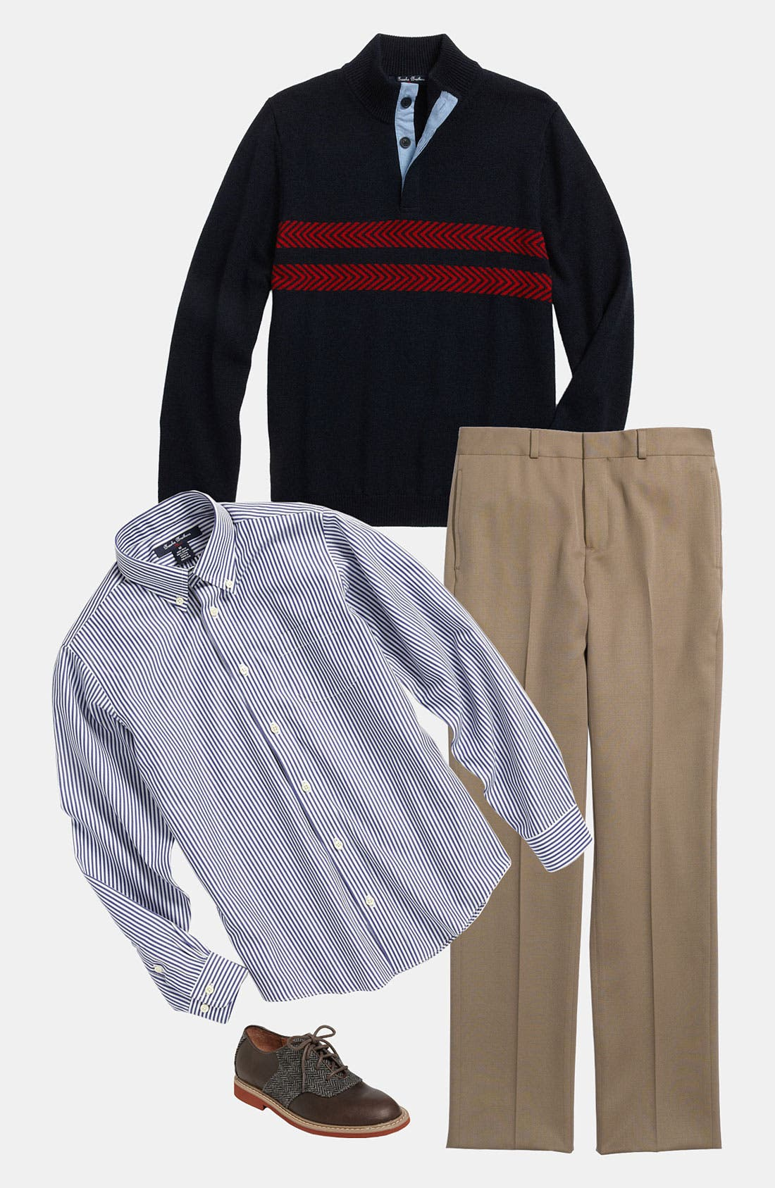 Main Image - Brooks Brothers Sweater, Sport Shirt & Trousers (Big Boys)
