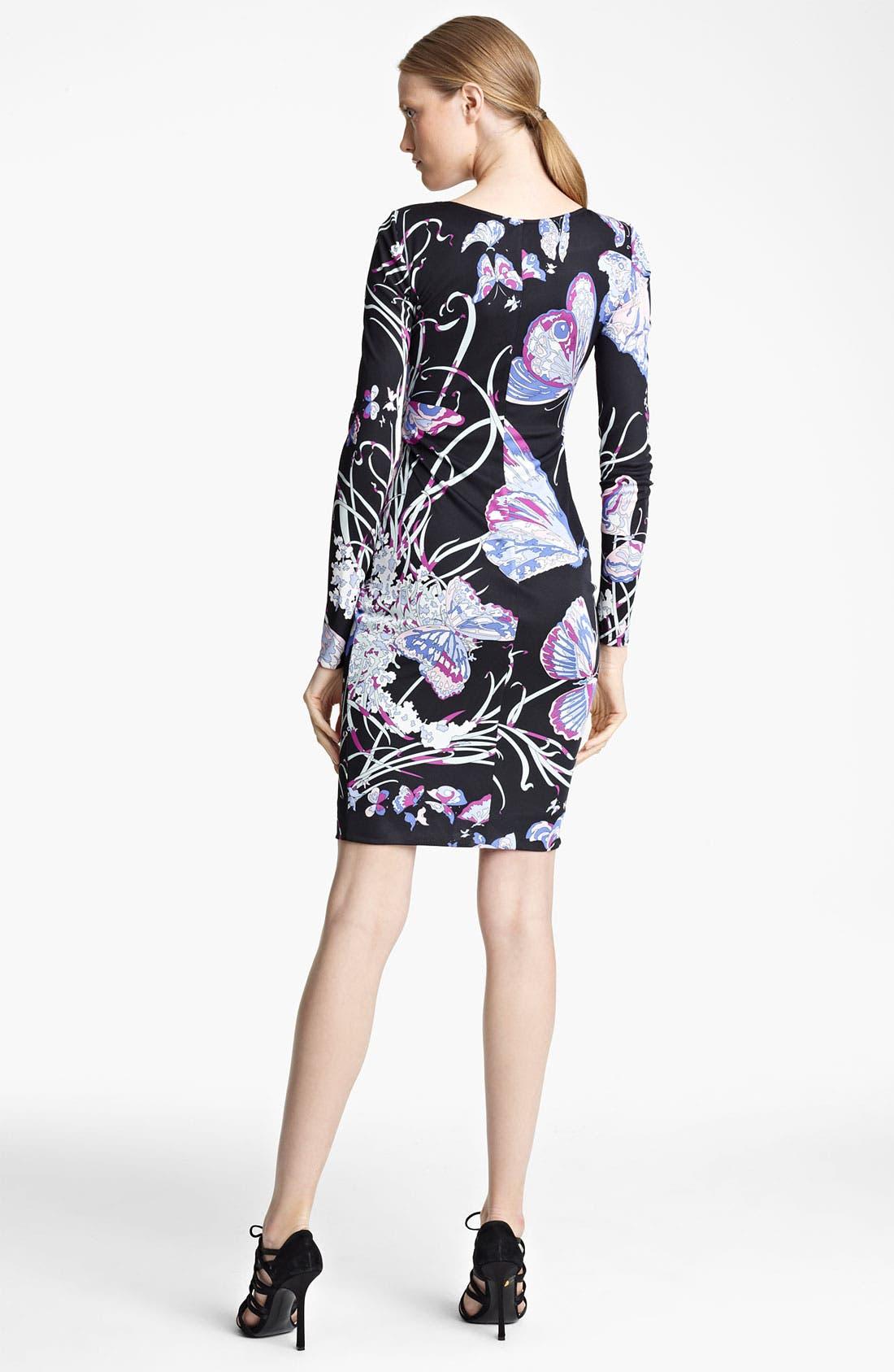 Butterfly Print Jersey Dress,                             Alternate thumbnail 2, color,                             Black Butterfly