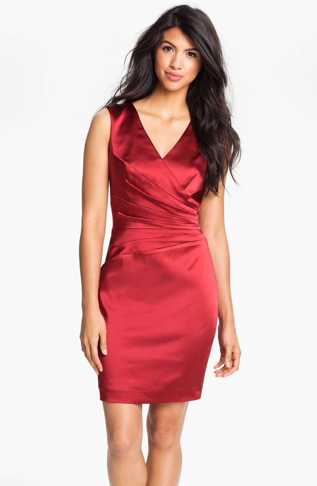 Alternate Image 1 Selected - Calvin Klein Double V-Neck Satin Sheath Dress