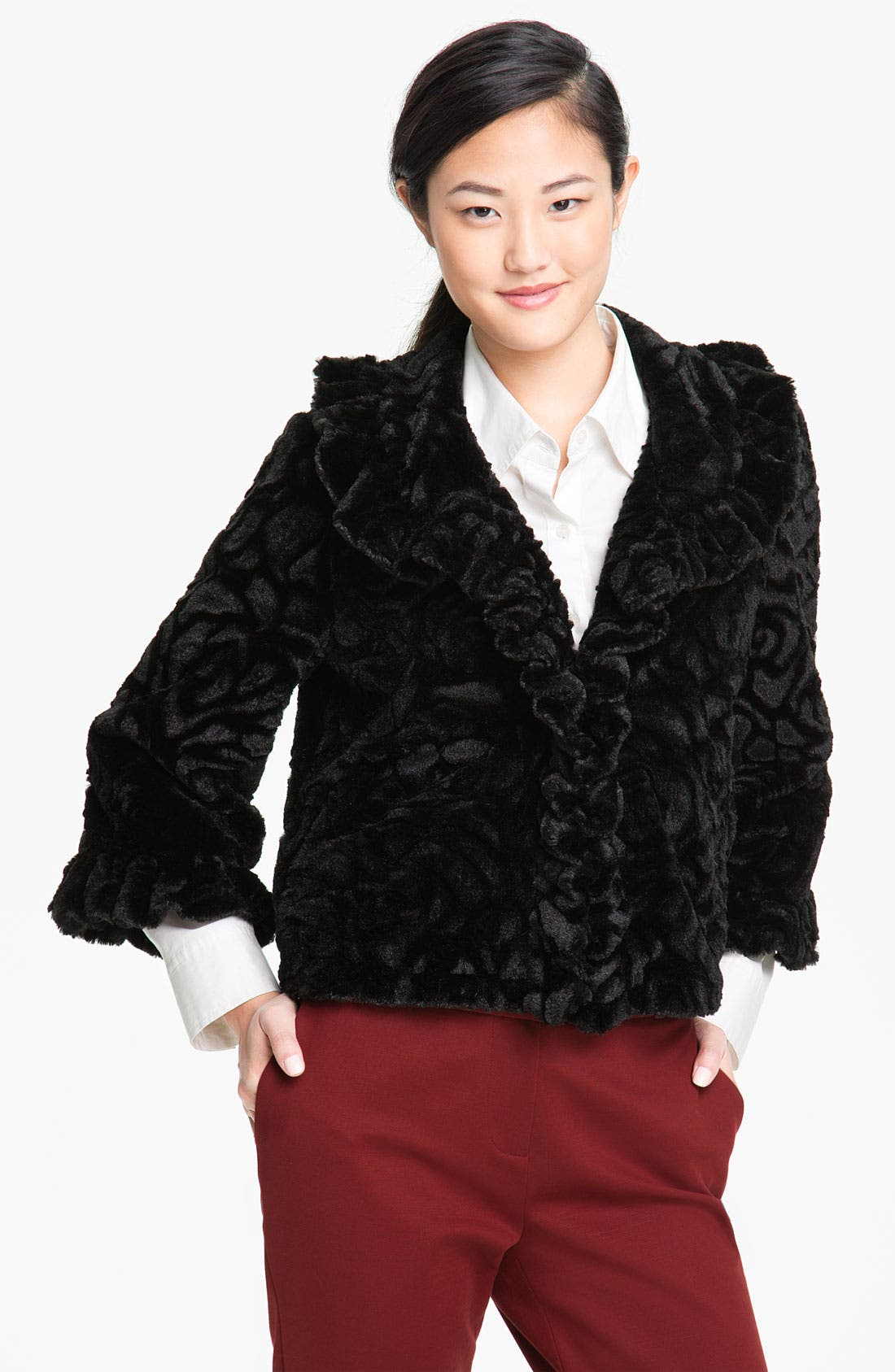 Main Image - Damselle Ruffled Faux Fur Crop Coat