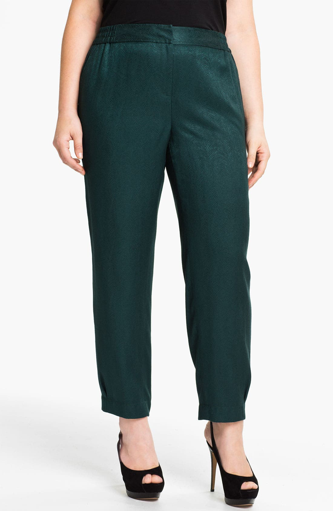 Alternate Image 1 Selected - Sejour Slim Jacquard Pants (Plus)