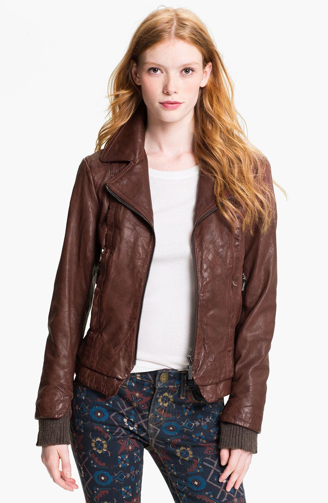 Alternate Image 1 Selected - Bernardo Knit Cuff Leather Jacket
