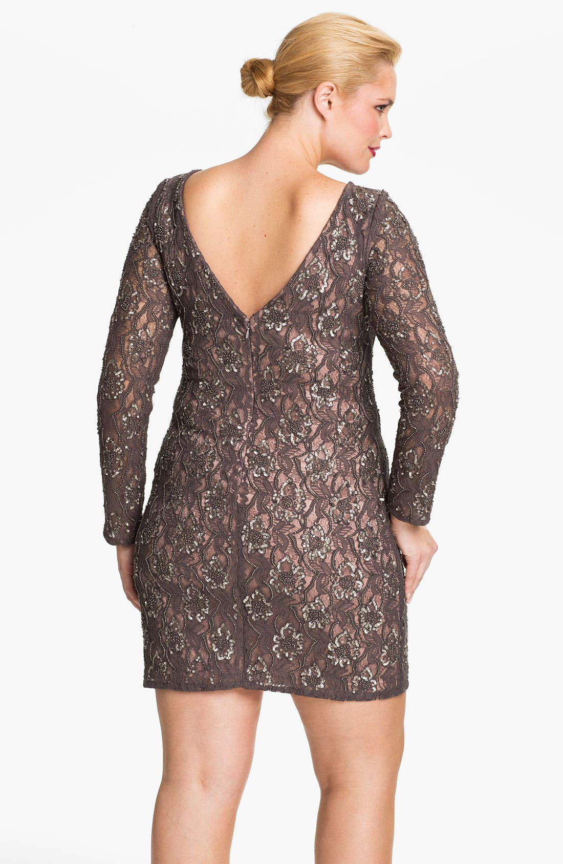Alternate Image 2  - Aidan Mattox Embellished V-Back Lace Sheath Dress (Plus)