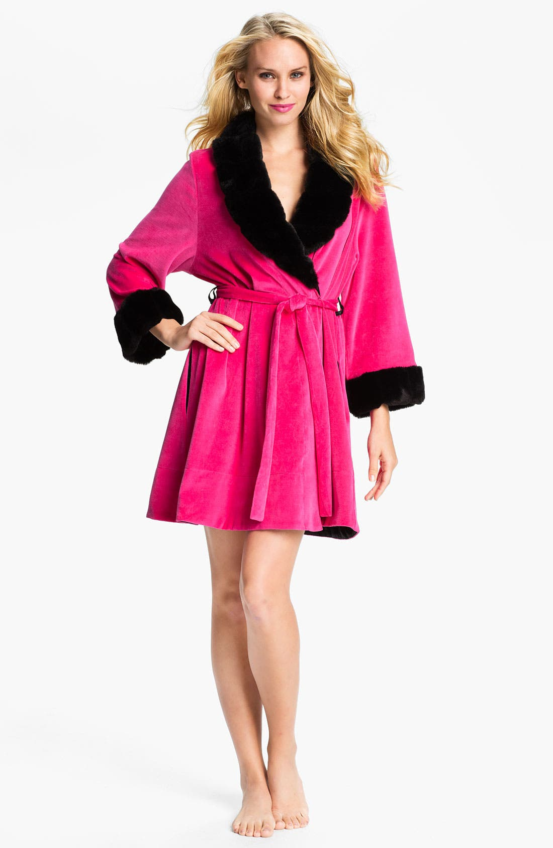 Alternate Image 1 Selected - Betsey Johnson Faux Fur Trim Velour Robe