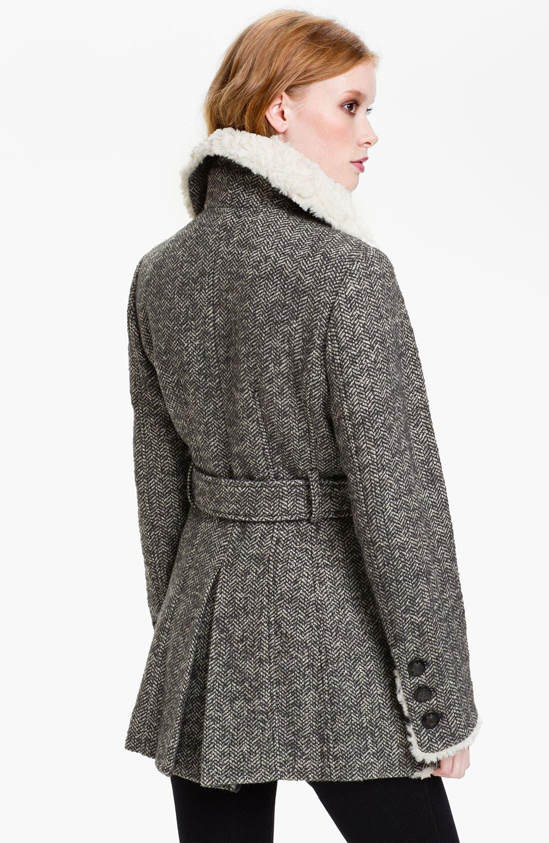 Alternate Image 2  - GUESS Faux Shearling Fur Trim Peacoat (Online Exclusive)