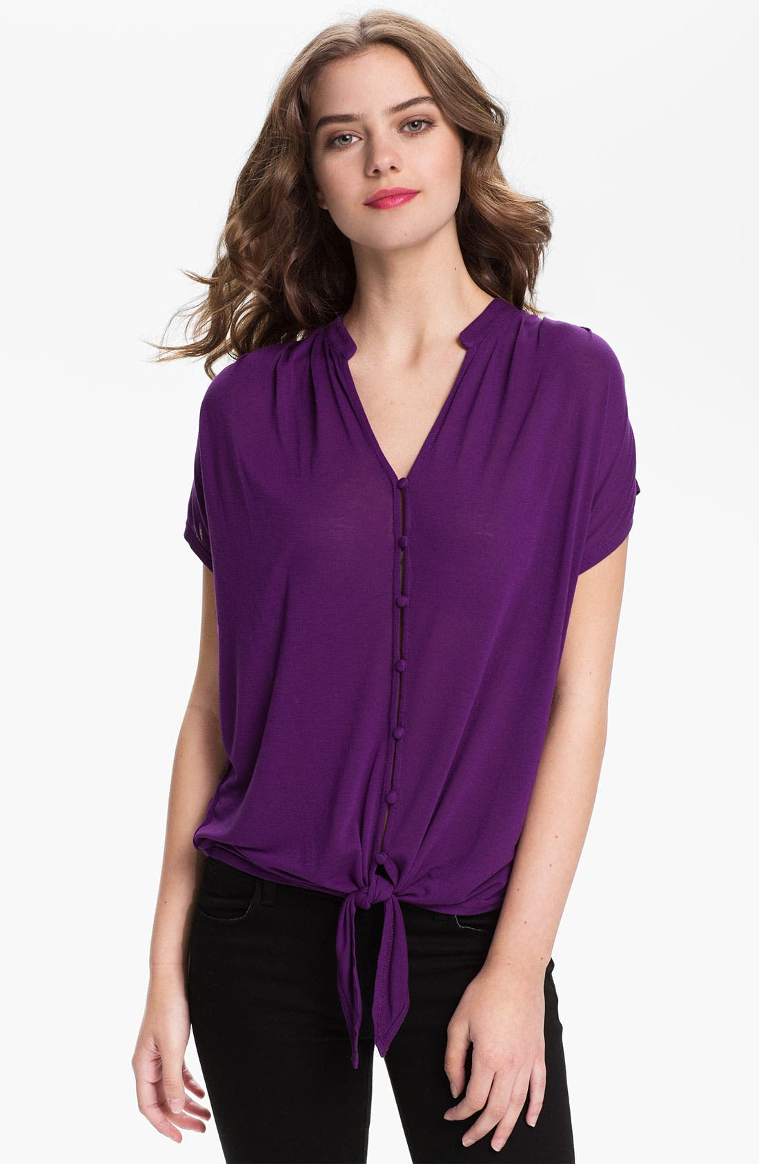 Alternate Image 1 Selected - Joie 'Baxter' Dolman Sleeve Tie Front Blouse