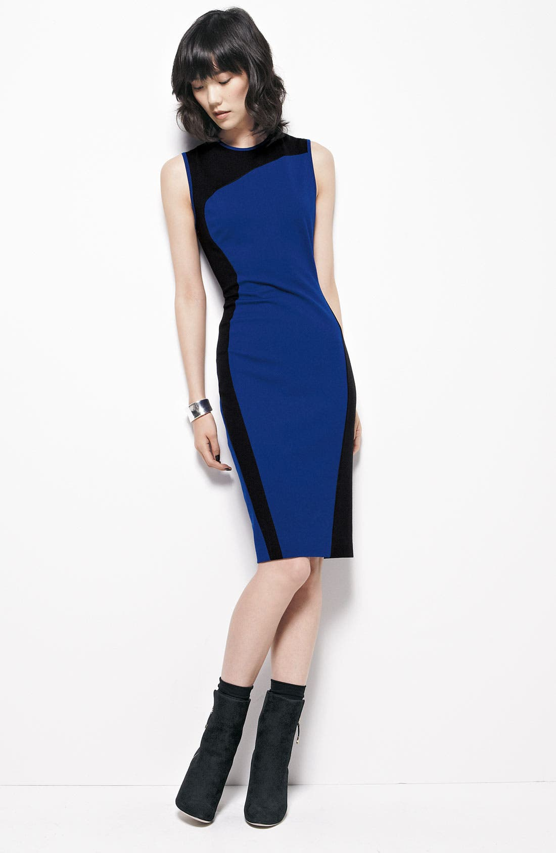 Alternate Image 3  - Cynthia Steffe Swirl Contrast Panel Ponte Sheath Dress
