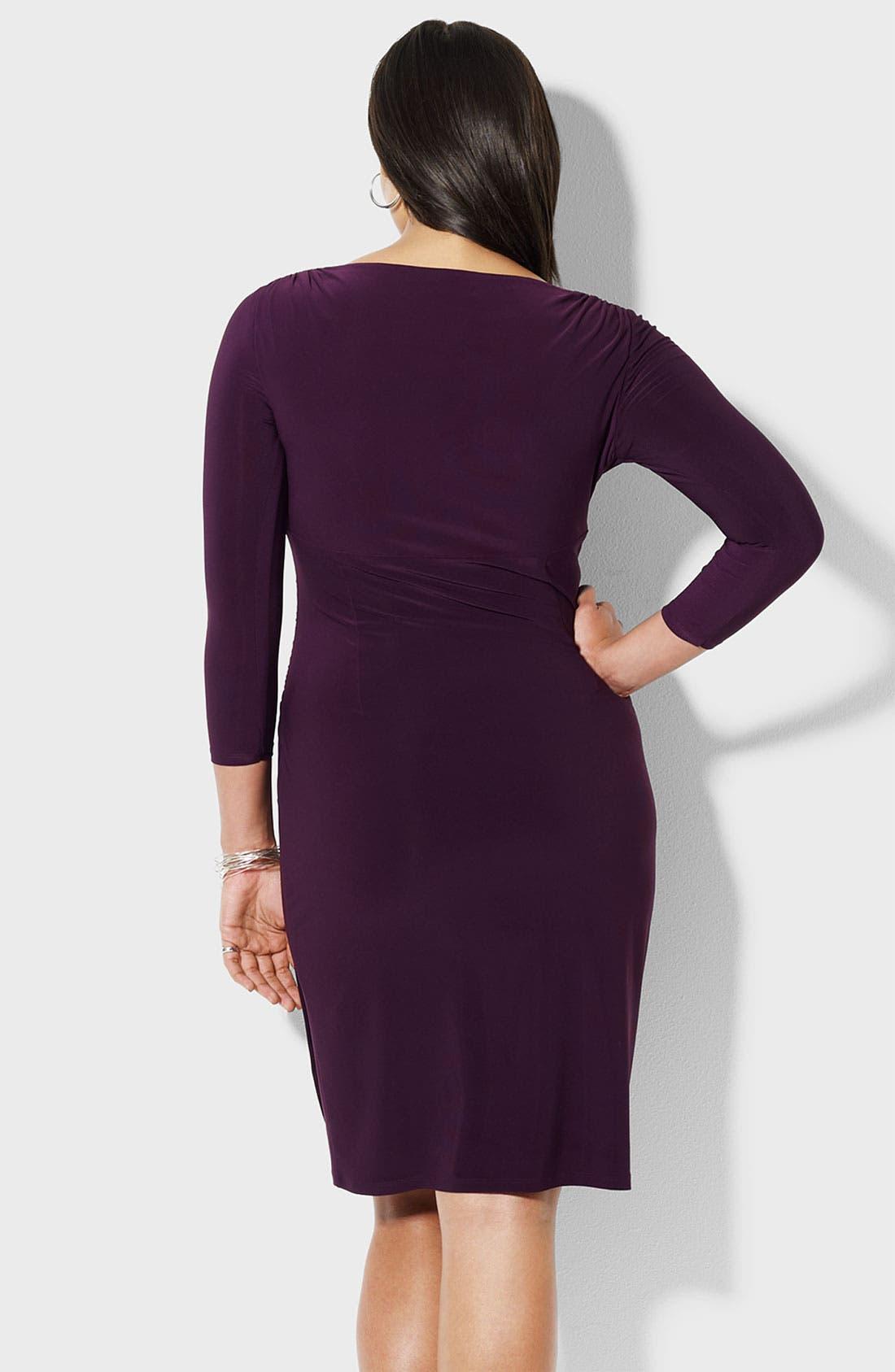 Alternate Image 2  - Lauren Ralph Lauren Surplice Matte Jersey Dress (Plus)