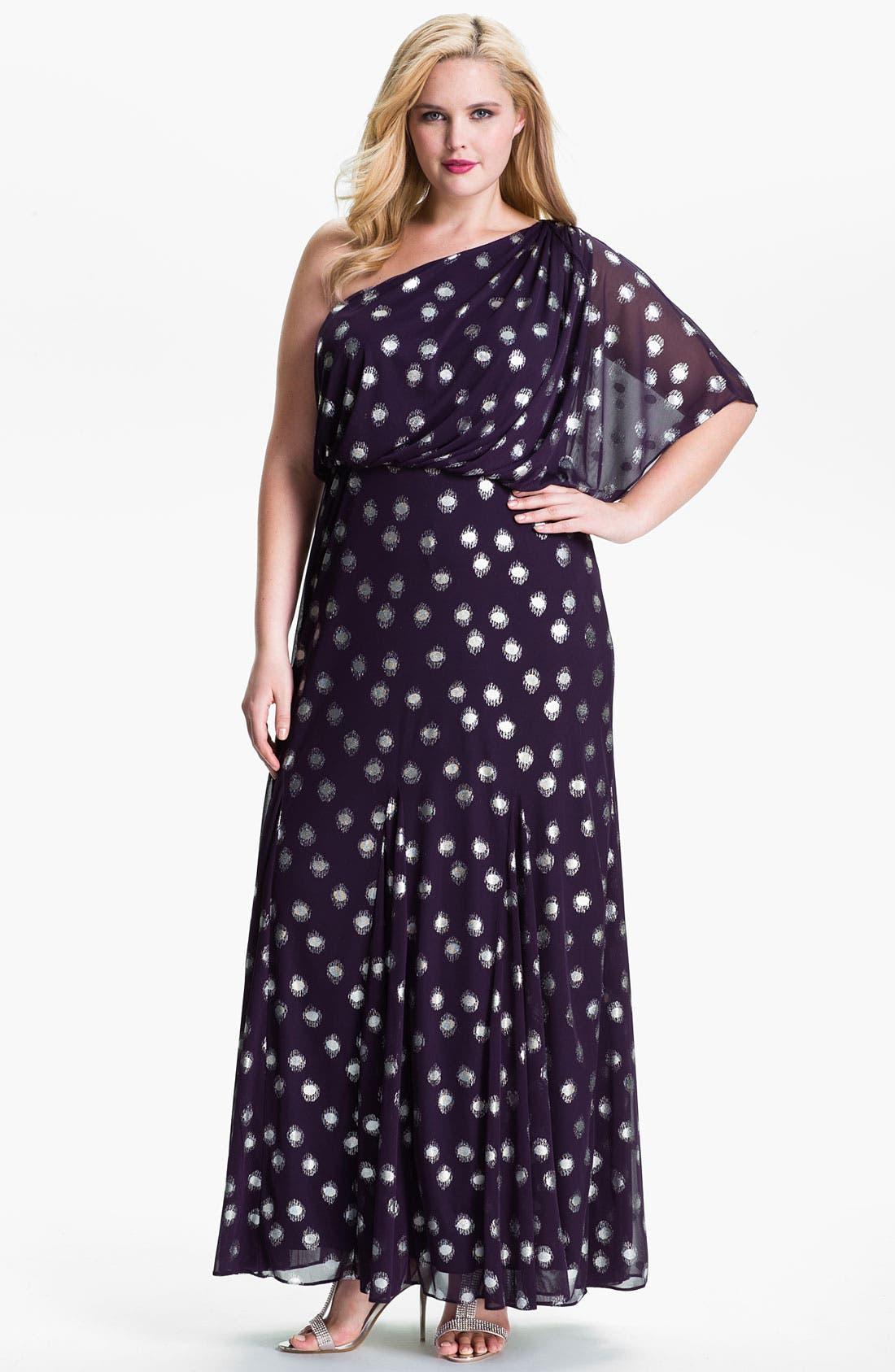 Main Image - Adrianna Papell Foil Dot One Shoulder Chiffon Dress (Plus)