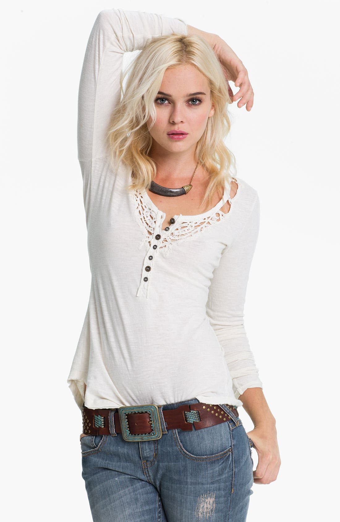 Main Image - Free People 'Legacy' Crochet Neck Henley Top