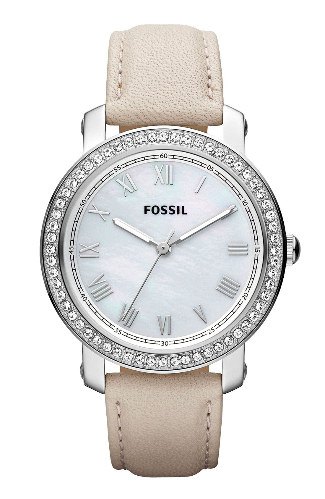 Alternate Image 1 Selected - Fossil 'Emma' Crystal Bezel Leather Strap Watch, 38mm