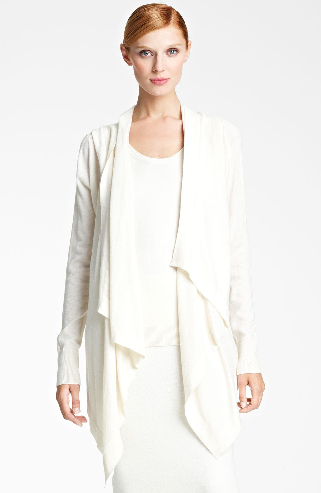 Main Image - Donna Karan Collection Hooded Featherweight Cashmere Cozy