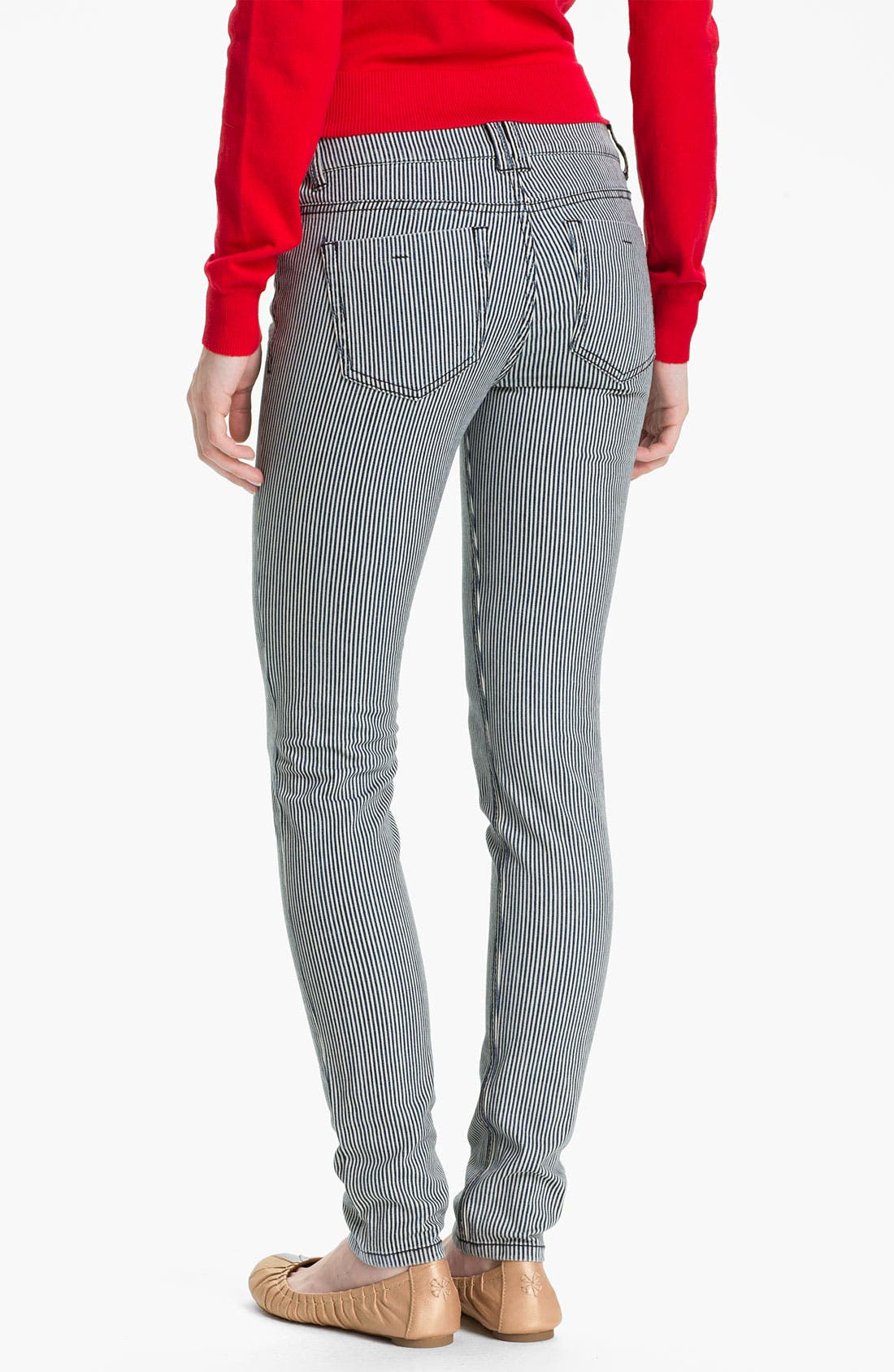 Main Image - Fire Stripe Skinny Jeans (Juniors)