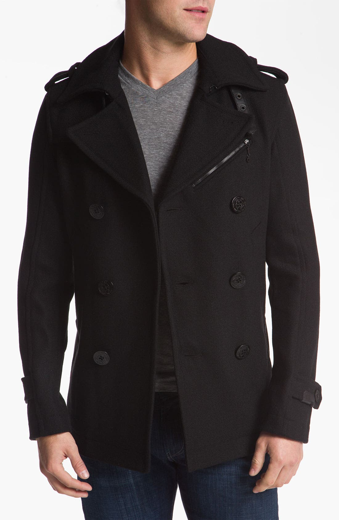 'Wittory' Double Breasted Peacoat,                             Main thumbnail 1, color,                             Black