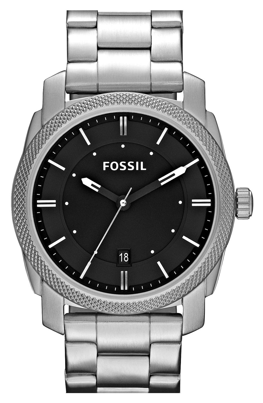 Main Image - Fossil 'Machine' Bracelet Watch, 42mm