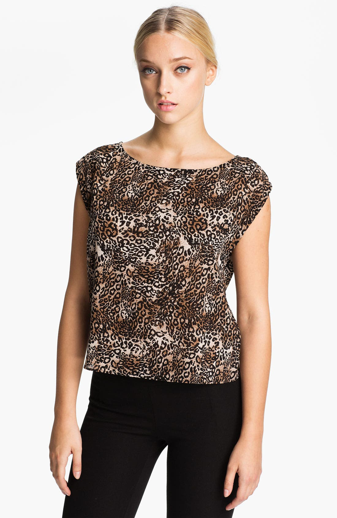 Main Image - Alice + Olivia 'Kinsley' Cheetah Print Top